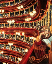 Night at the Opera, figure painting, oil on canvas