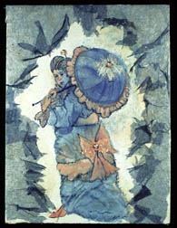 Parasol, figure painting, watercolor and collage