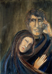 The Couple, oil on paper