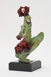 Rose and Bud - bronze sculpture, another side  view