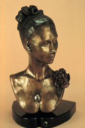 The Rose - bronze sculpture, side view