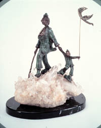 New Kite - bronze and quartz crystal sculpture, front view