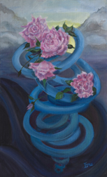 A Swirl of Roses, still life painting, oil on canvas