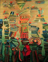 The Library acrylic  painting