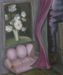 Pink Loveseat, still life painting, oil on canvas