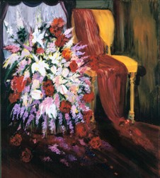Red Scarf still life painting